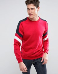 Threadbare Cut And Sew Color Sweat Red