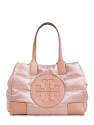 Tory Burch Ella Mini Quilted Nylon Lame Tote Bag Mineral Pink