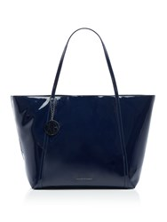 Armani Exchange Patent Large Tote Blue