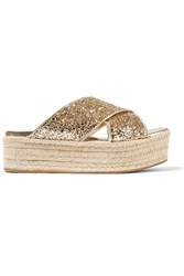 Miu Miu Glittered Leather Espadrille Platform Sandals Gold
