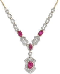 Macy's Ruby 2 1 3 Ct. T.W. Diamond 1 Ct. T.W. Frontal Pendant Necklace In 14K Gold