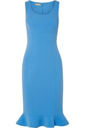 Michael Kors Collection Ruffled Stretch Wool Crepe Dress Light Blue