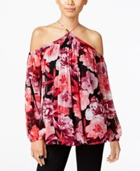 Inc International Concepts Printed Off The Shoulder Halter Blouse Only At Macy's Spirited Roses