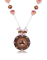 Dolci Gioie Sterling Silver Chocolate Cake Necklace Brown