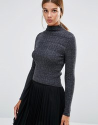 New Look Crop Rib Jumper Grey