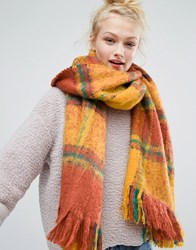 Monki Oversized Check Scarf Yelloe Rust Green Ch Multi