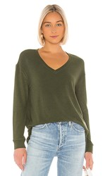 Cupcakes And Cashmere Gazella V Neck Sweater In Dark Green. Army