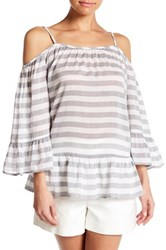 Beach Lunch Lounge Lexi Striped Cold Shoulder Shirt Gray