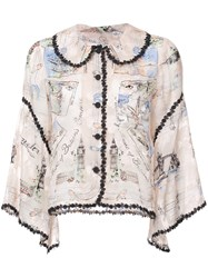 Anna Sui Mementos Of London Top Pink And Purple