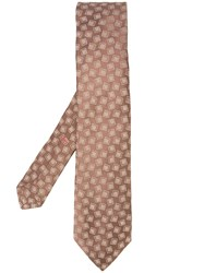 Isaia Square Print Tie Brown