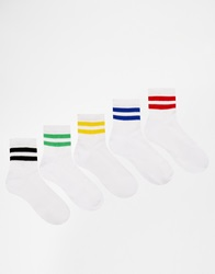 Asos 5 Pack Ankle Length Sports Style Socks With Stripe White