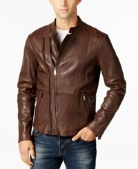 Armani Jeans Men's Pebbled Leather Jacket Med Brown