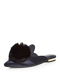 Charles David Wella Satin Pom Pom Pointed Toe Mules Black