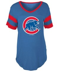 5Th And Ocean Women's Chicago Cubs Sleeve Stripe Relax T Shirt Royalblue Red
