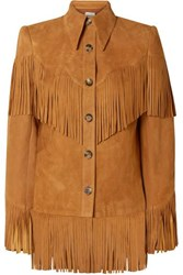 Khaite Jimmy Fringed Suede Jacket Camel