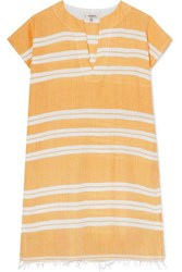 Lemlem Doro Frayed Striped Cotton Blend Gauze Tunic Yellow