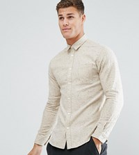 Selected Homme Slim Fit Shirt In Flecked Twill Corn Stalk Cream