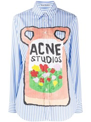 Acne Studios Striped Logo Print Shirt Blue