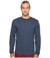 Original Penguin Long Sleeve Wool Look Herringbone Tee Dark Sapphire Men's T Shirt Blue