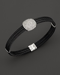 Charriol Celtic Noir Bangle In 18K White Gold And Black Pvd With 3 Row Oval Center Station No Color