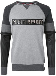 Plein Sport Layered Style Sweatshirt Men Cotton Polyester M Grey