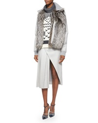 Prabal Gurung Fox Fur Front Cashmere Blend Jacket