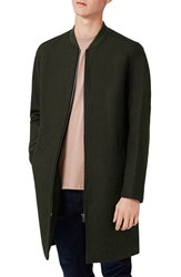 Topman Men's Longline Wool Blend Bomber Jacket
