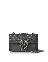 Pinko Mini Love Black Matte Leather Shoulder Bag W Studs And Crystals