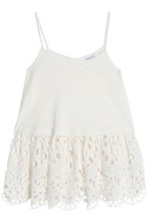 Claudie Pierlot Tiny Broderie Anglaise Paneled Cotton Jersey Peplum Top Off White Off White