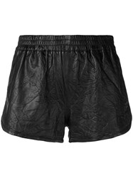 Zadig And Voltaire Creased Leather Shorts Black