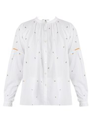Jupe By Jackie Kahano Embroidered Round Neck Cotton Shirt White Multi