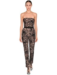 Moschino Embroidered Sheer Tulle Jumpsuit Black