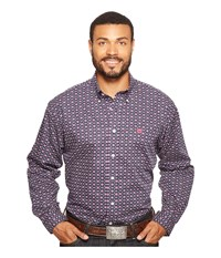 Cinch Long Sleeve Plain Weave Print Navy Men's Clothing