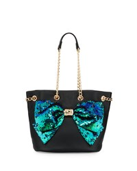 Betsey Johnson Bow Lesque Sequined Drawstring Bucket Bag Black