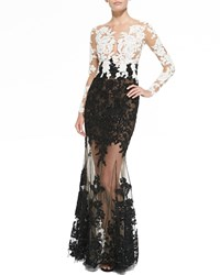 Zuhair Murad Lace Embroidered Sheer Gown Black White