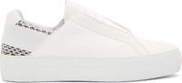 Helmut Lang White Snakeskin Accent Sneakers