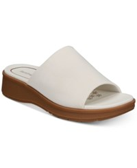 Bare Traps Rebecca Slip On Wedge Sandals Women's Shoes White Fabric