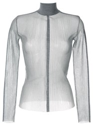 Dion Lee Sheer Fitted Top Grey