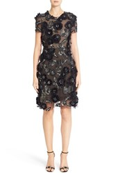 Marchesa Women's Cap Sleeve Tulle Dress With 3D Floral Embellishments