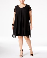 Ny Collection Plus Size Layered Shift Dress Black