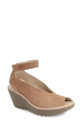 Women's Fly London 'Yala' Perforated Leather Sandal Beige Cupido Mousse Leather