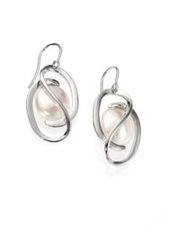 Majorica 12Mm White Coin Pearl And Sterling Silver Drop Earrings