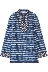 Tory Burch Embellished Tie Dyed Cotton Voile Tunic Blue