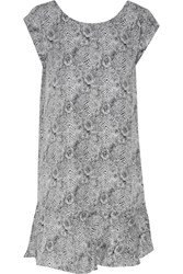 Joie Nella Printed Silk Mini Dress Gray