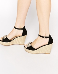 Miss Kg Lucie Espadrille Jewel Wedge Sandals Black