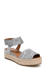 Franco Sarto By Oak Platform Wedge Espadrille Silver Printed Leather