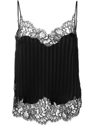 Givenchy Striped Lace Trim Vest Black