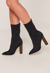 Missguided Navy Neoprene Wooden Heeled Boots