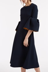 Roksanda Ilincic Margot Bell Sleeve Dress Navy