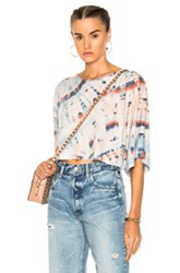 Raquel Allegra Kimono Sleeve Crop Top In Blue Ombre And Tie Dye Pink White Blue Ombre And Tie Dye Pink White